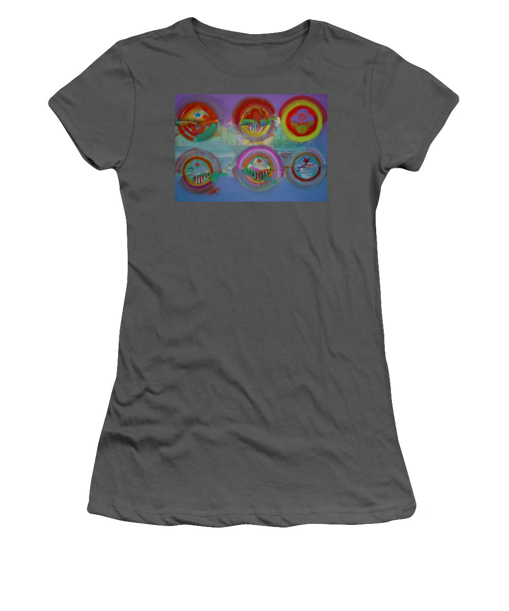 Landscape Women's T-Shirt (Athletic Fit) featuring the painting Six Visions Of Heaven by Charles Stuart