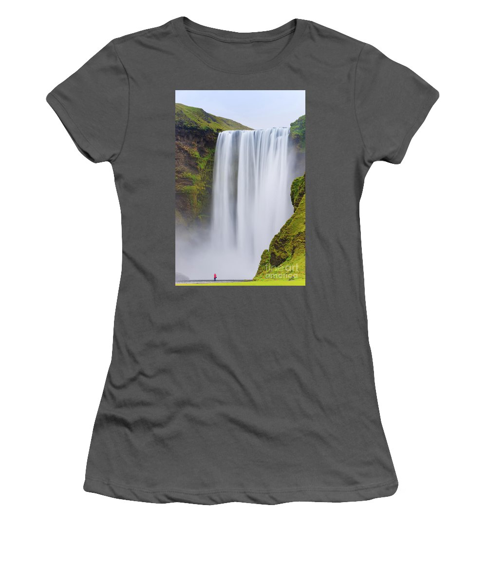 Attraction Women's T-Shirt (Athletic Fit) featuring the photograph Skogafoss - Iceland by Henk Meijer Photography