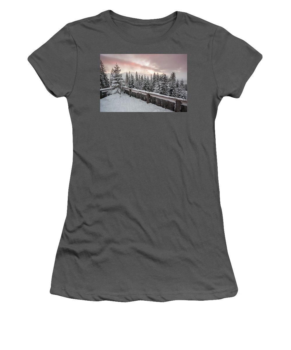 Tatra Women's T-Shirt (Athletic Fit) featuring the photograph Sky Crack Over Tatra Mountains by Bartosz Swiadkowski