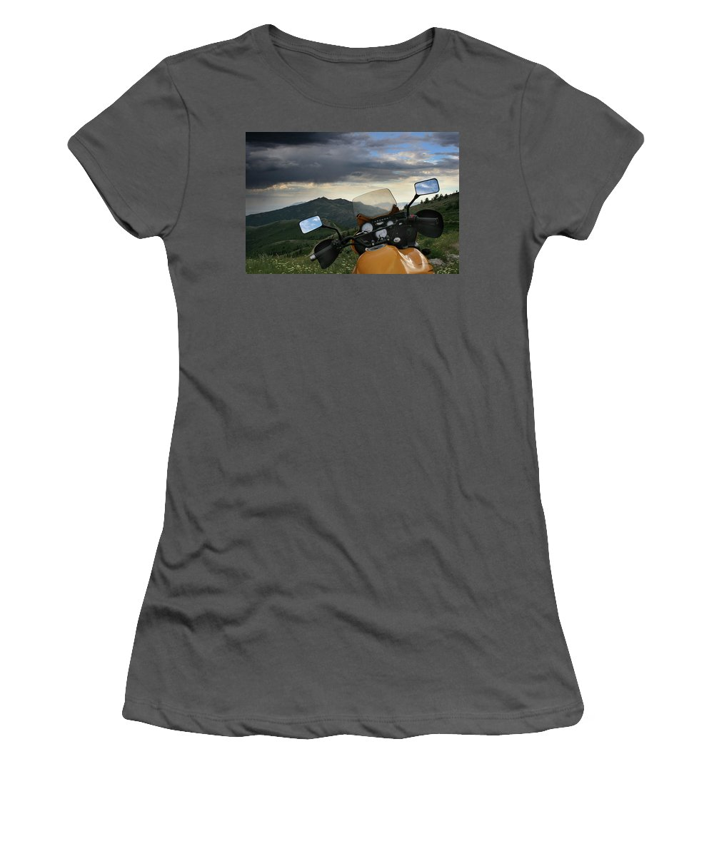 Biker Women's T-Shirt (Athletic Fit) featuring the photograph Skyline Drive Above Davis County by Ron Brown Photography
