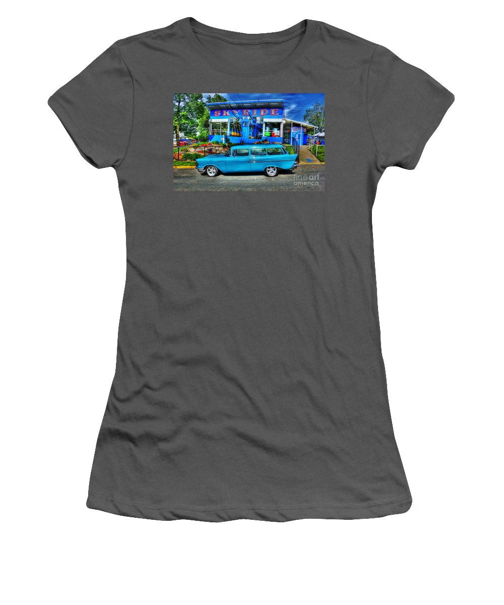 Hdr Women's T-Shirt (Athletic Fit) featuring the photograph Skyride by Perry Webster