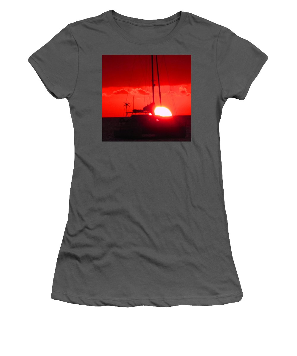 Sunset Women's T-Shirt (Athletic Fit) featuring the photograph Slipping Over The Edge by Ian MacDonald