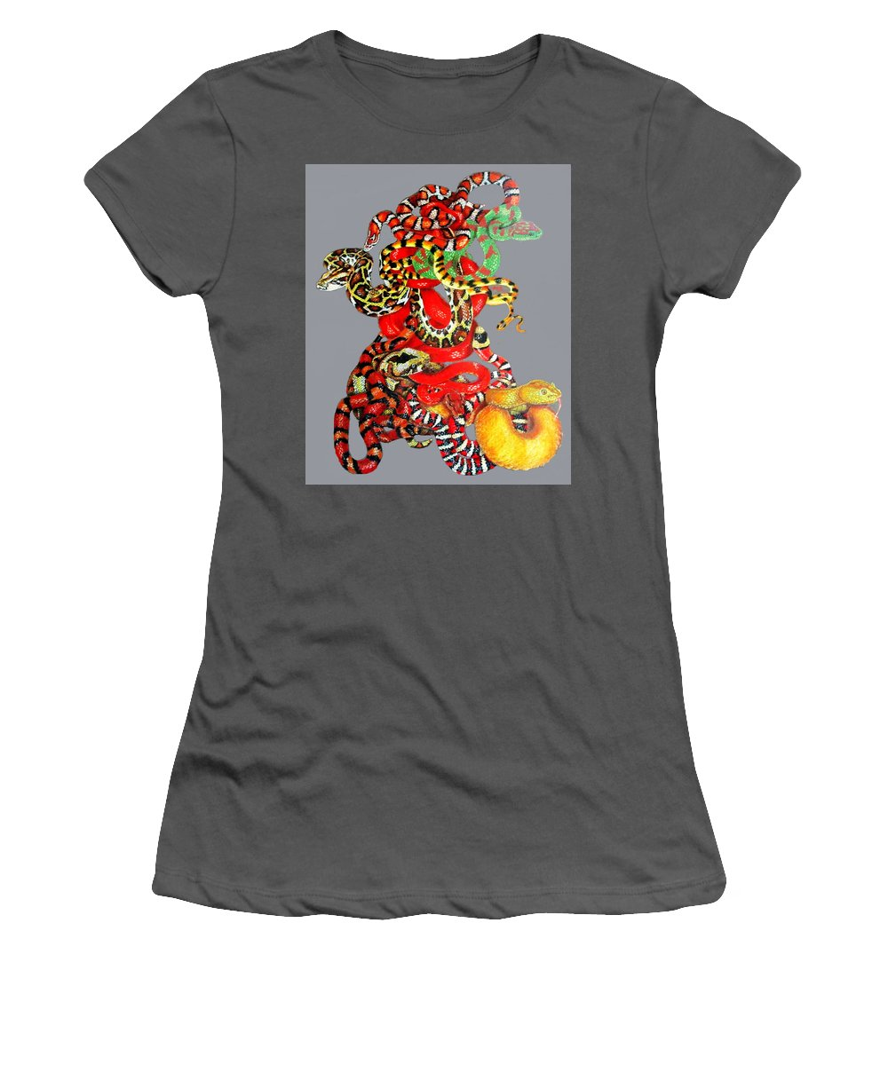 Reptile Women's T-Shirt (Athletic Fit) featuring the drawing Slither by Barbara Keith