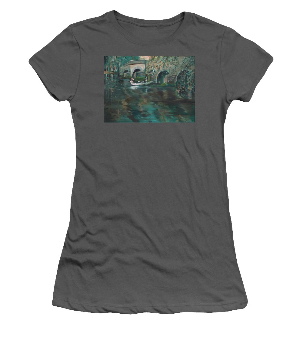 River Women's T-Shirt (Athletic Fit) featuring the painting Slow Boat - Lmj by Ruth Kamenev