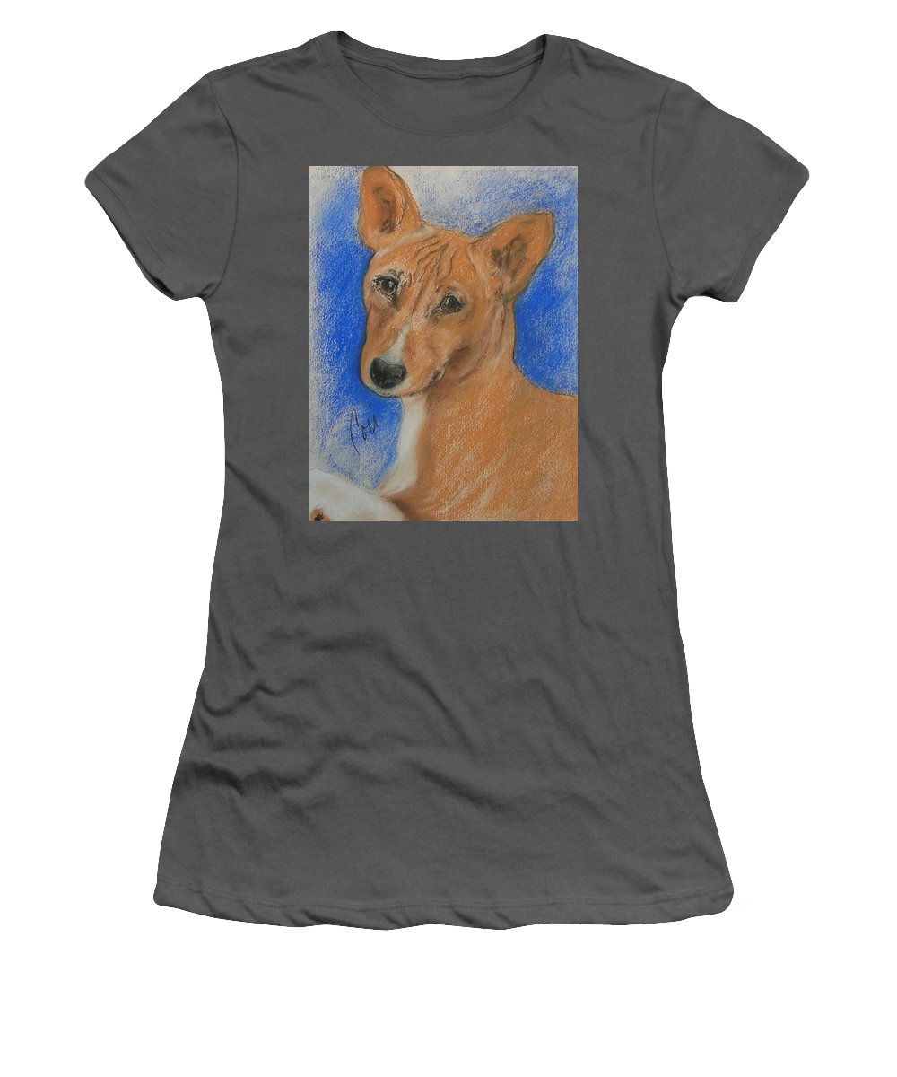 Dog Women's T-Shirt (Athletic Fit) featuring the drawing Small And Mighty by Cori Solomon