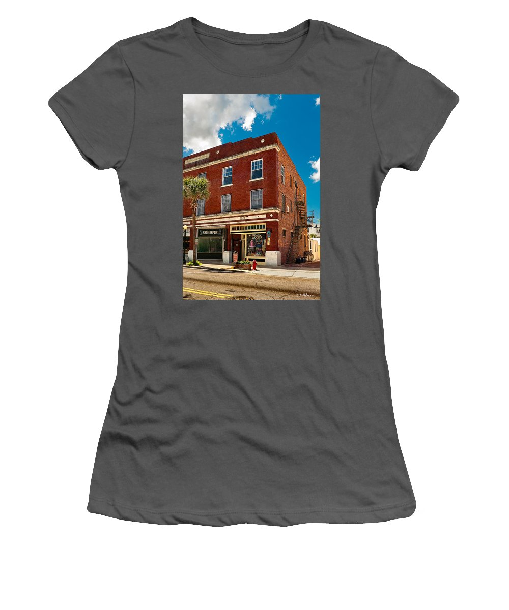 Buildings Women's T-Shirt (Athletic Fit) featuring the photograph Small Town Shops by Christopher Holmes