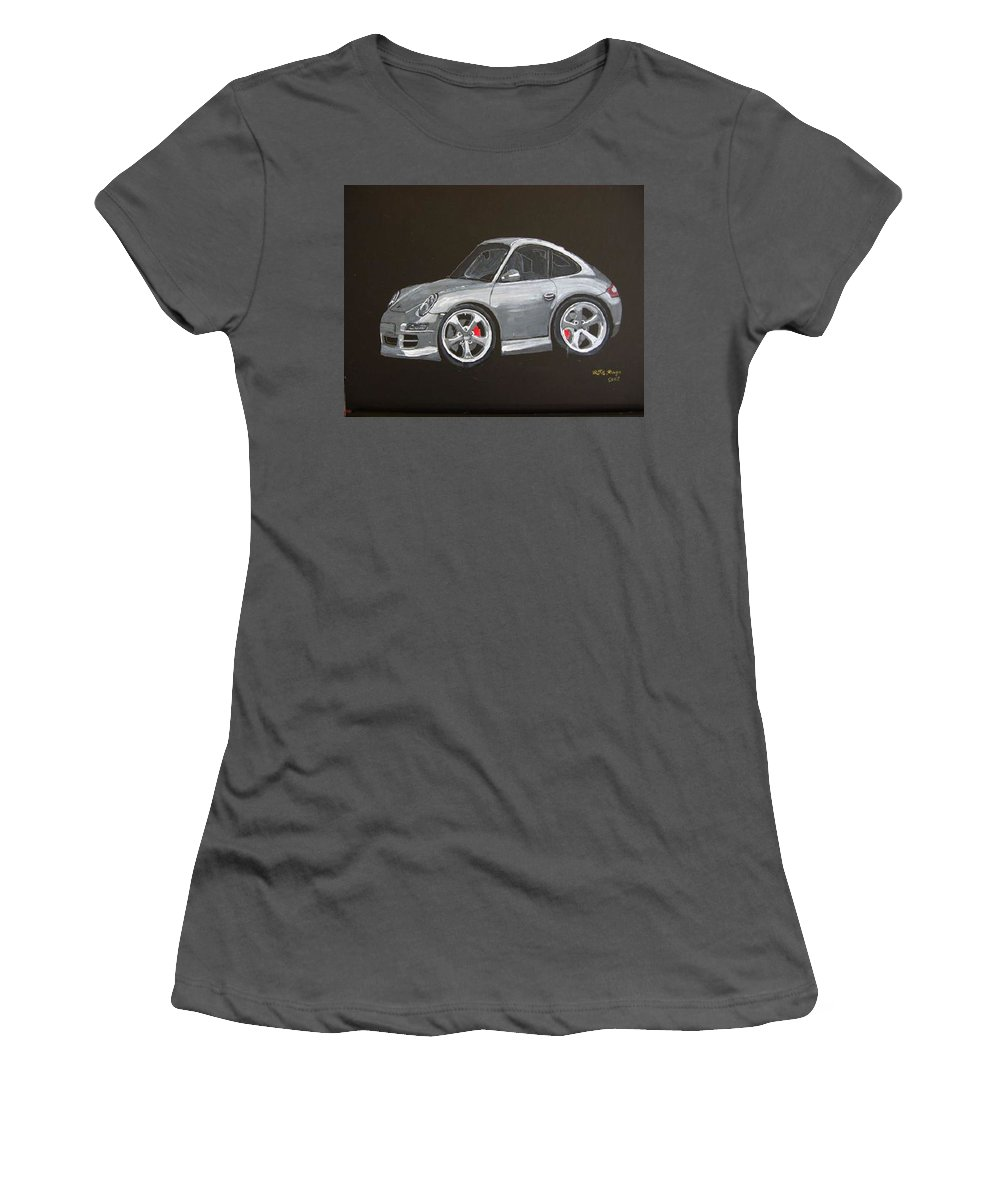 Car Women's T-Shirt (Athletic Fit) featuring the painting Smart Porsche by Richard Le Page