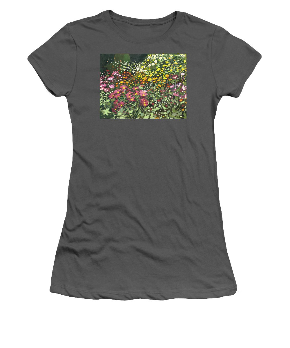Floral Women's T-Shirt (Athletic Fit) featuring the painting Smith Mums by Leah Tomaino