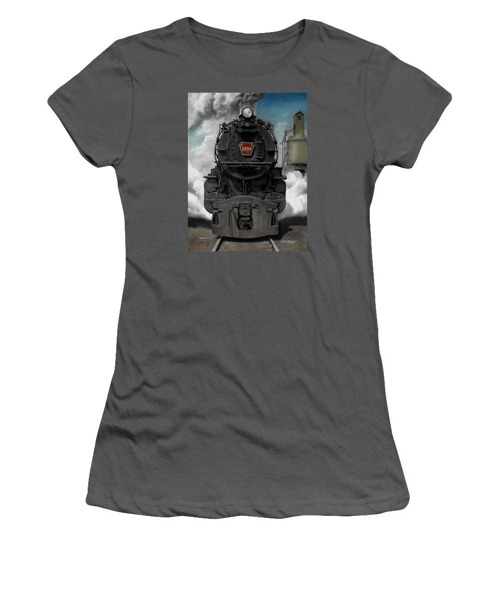 Trains Women's T-Shirt (Athletic Fit) featuring the painting Smoke And Steam by David Mittner
