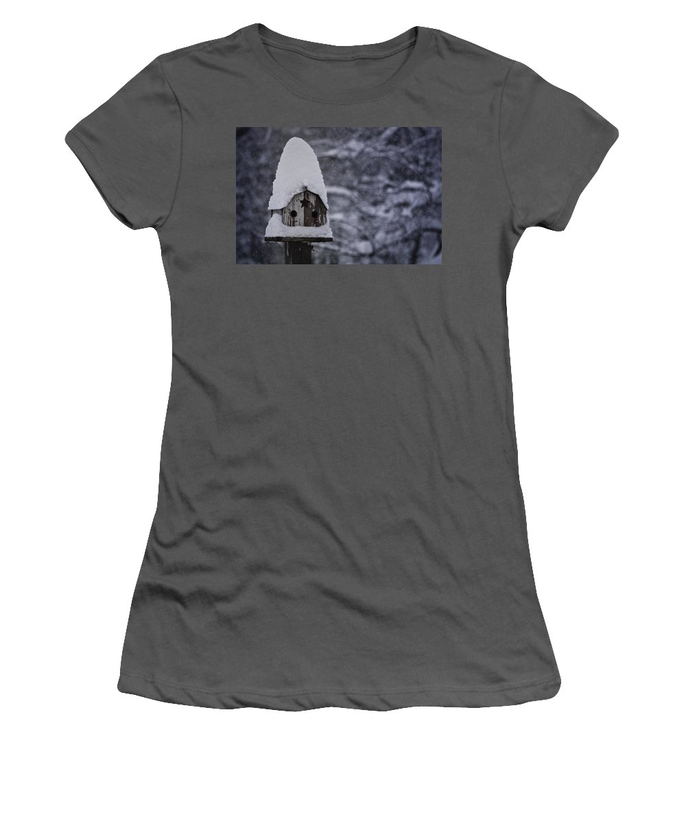 Birdhouse Women's T-Shirt (Athletic Fit) featuring the photograph Snow Covered Elf Birdhouse by Teresa Mucha