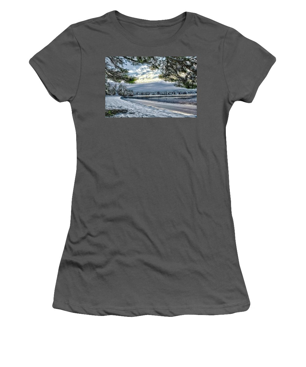 Brookline Nh Women's T-Shirt (Athletic Fit) featuring the photograph Snow Covered Pines by Larry Richardson