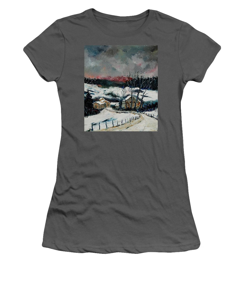 Winter Women's T-Shirt (Athletic Fit) featuring the painting Snow In Sechery Redu by Pol Ledent