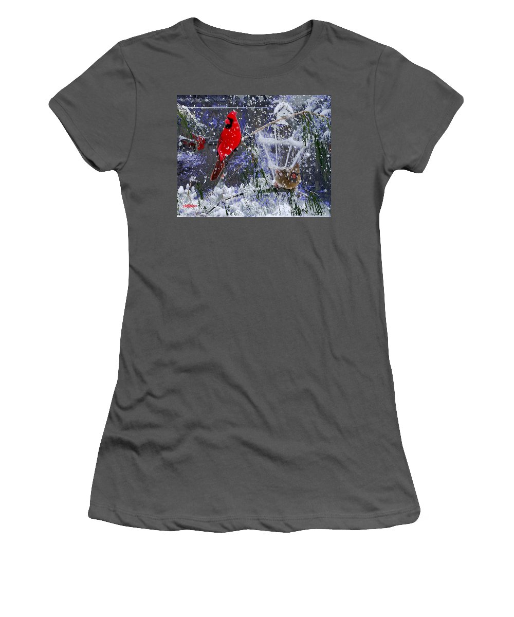 Snowstorm Women's T-Shirt (Athletic Fit) featuring the photograph Snowstrom by Seth Weaver