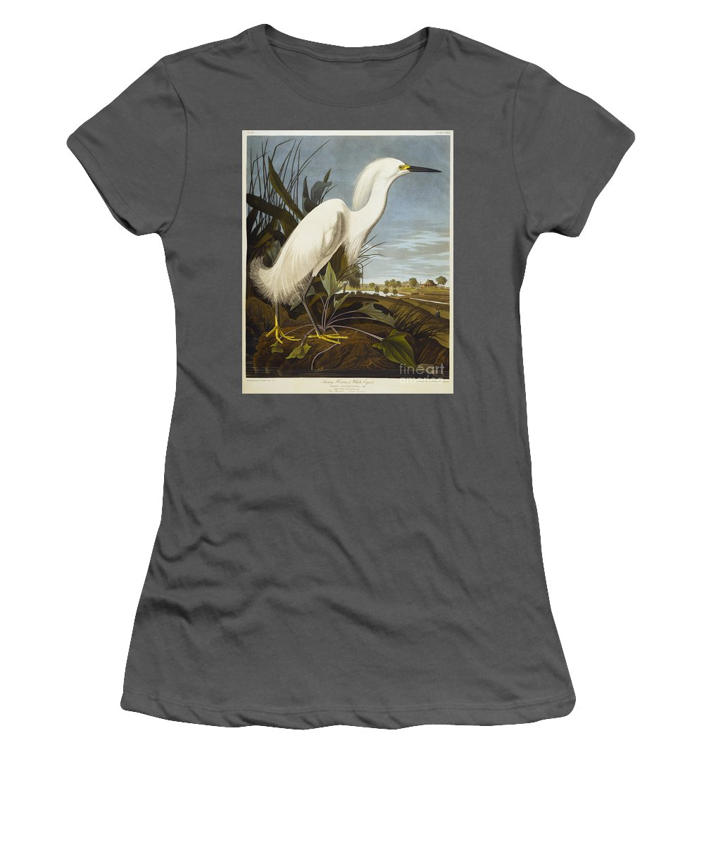 Snowy Heron Or White Egret / Snowy Egret (egretta Thula) Plate Ccxlii From 'the Birds Of America' (aquatint & Engraving With Hand-colouring) By John James Audubon (1785-1851) Women's T-Shirt (Athletic Fit) featuring the drawing Snowy Heron by John James Audubon