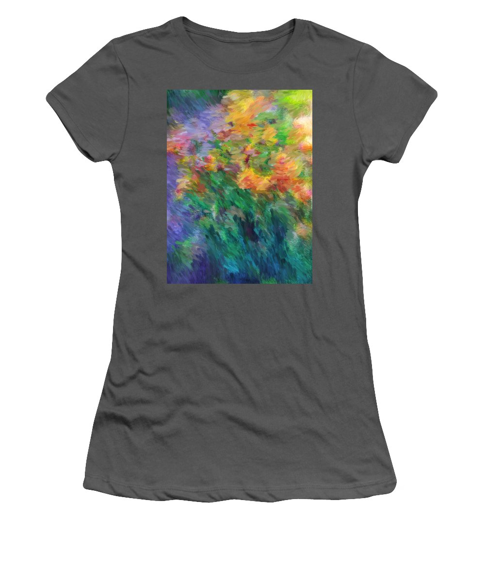 Iris Women's T-Shirt (Athletic Fit) featuring the photograph Soft Iris 2 by Don Zawadiwsky