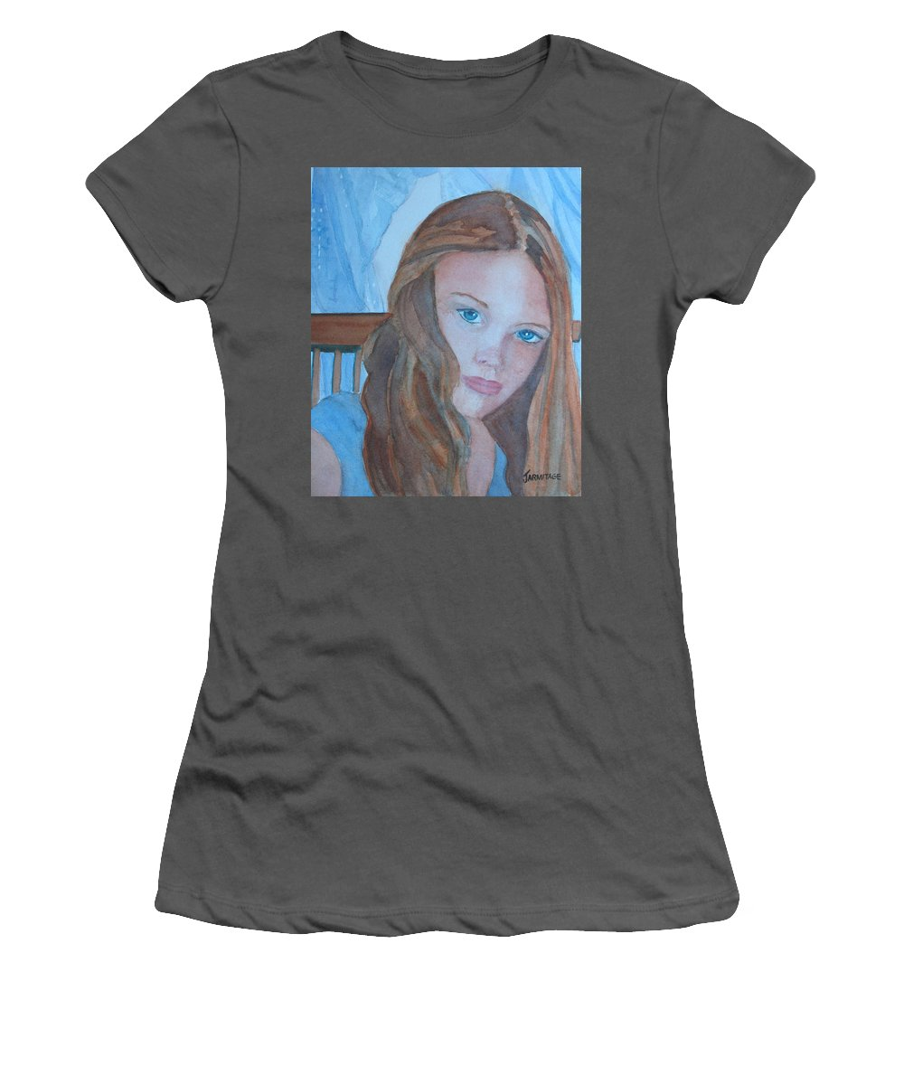 Girls Women's T-Shirt (Athletic Fit) featuring the painting Soft Steel by Jenny Armitage