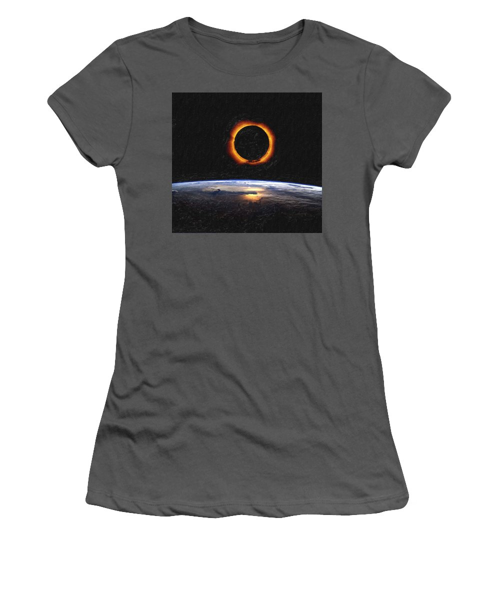 Sun Women's T-Shirt (Athletic Fit) featuring the painting Solar Eclipse From Above The Earth Painting by Celestial Images