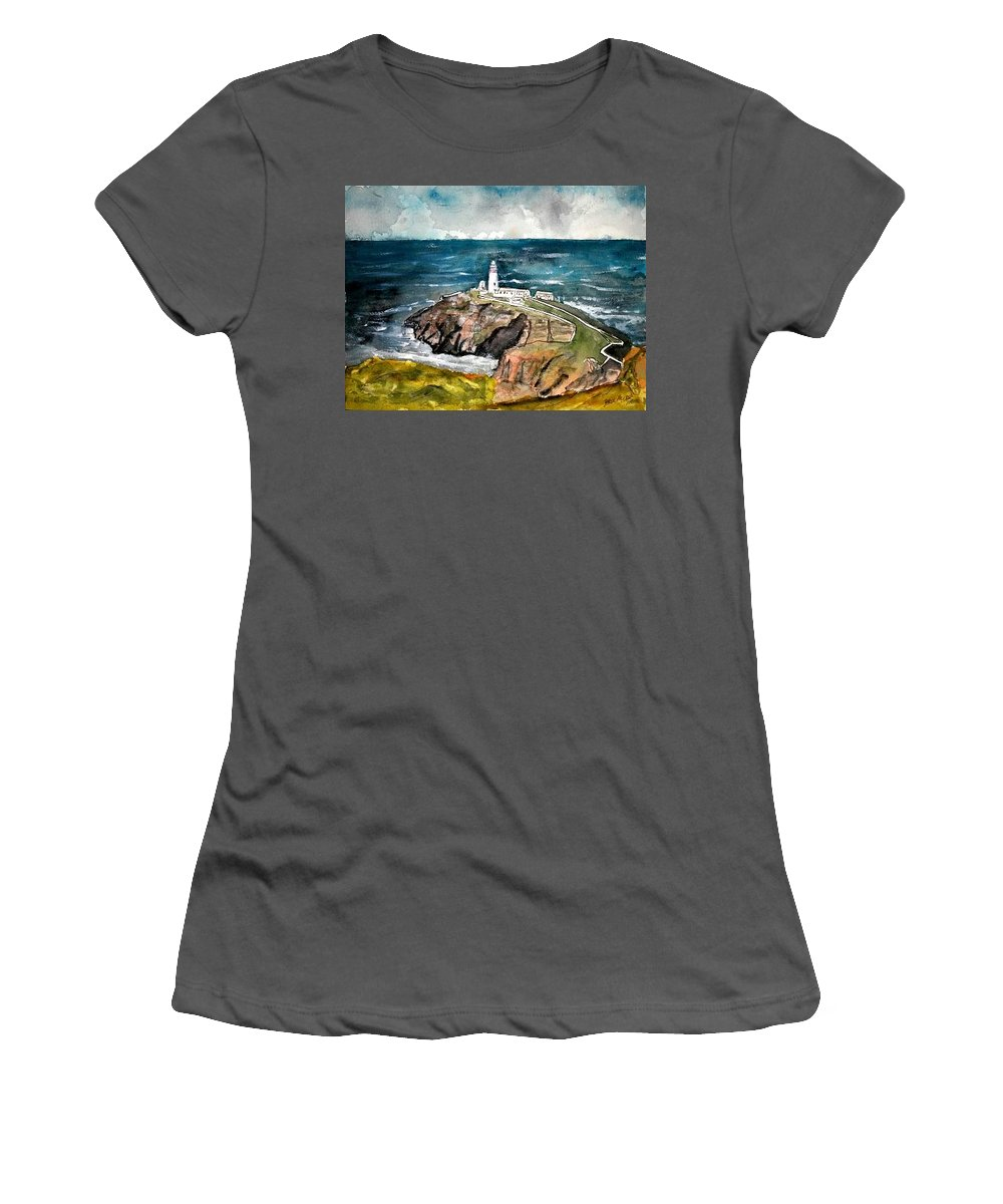 South Stack Lighthouse Women's T-Shirt (Athletic Fit) featuring the painting South Stack Lighthouse by Derek Mccrea
