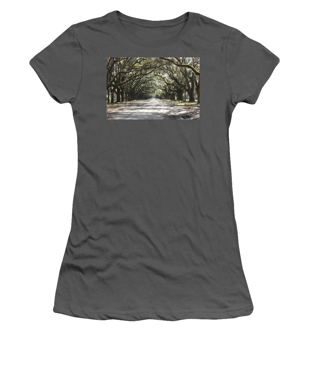 Live Oaks Women's T-Shirt (Athletic Fit) featuring the photograph Southern Road by Carol Groenen