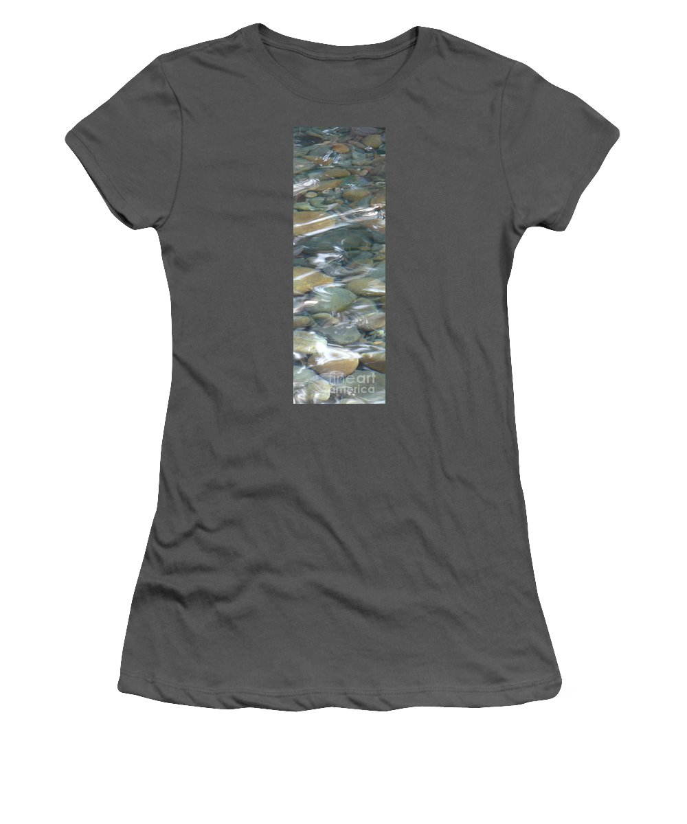 Sparkling Water Women's T-Shirt (Athletic Fit) featuring the photograph Sparkling Water On Rocky Creek 1 by Carol Groenen
