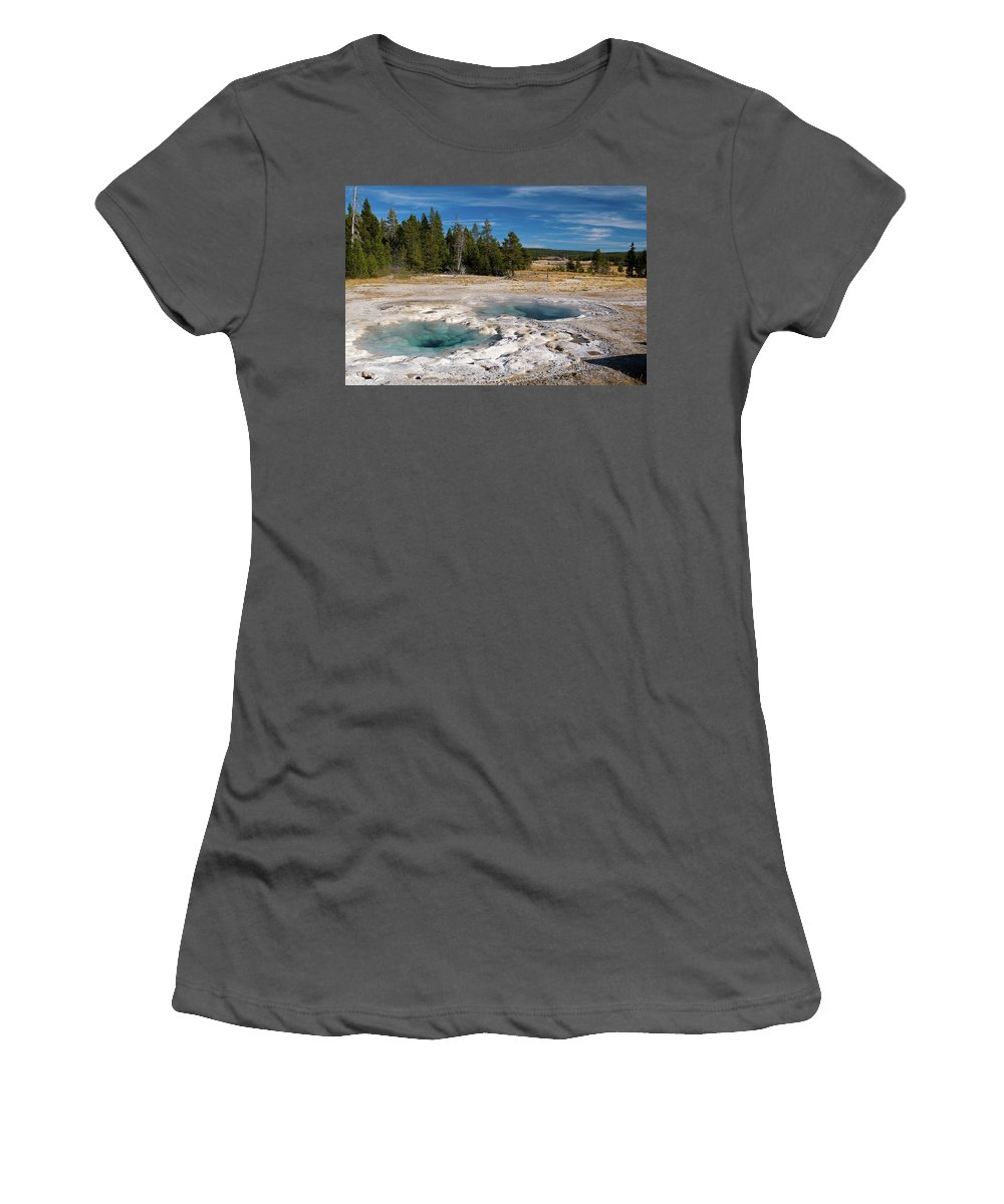 Geyser Women's T-Shirt (Athletic Fit) featuring the photograph Spasmodic Geyser by Steve Stuller