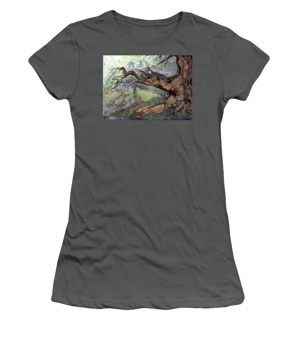 Bark Women's T-Shirt (Athletic Fit) featuring the painting Spirit Tree by Sherry Shipley