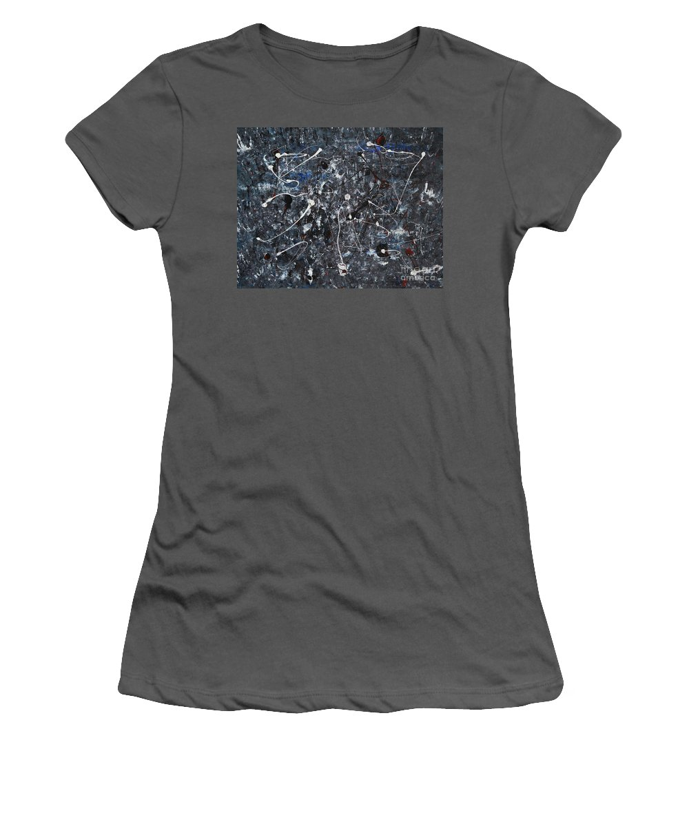 Splatter Women's T-Shirt (Athletic Fit) featuring the painting Splattered - Grey by Jacqueline Athmann