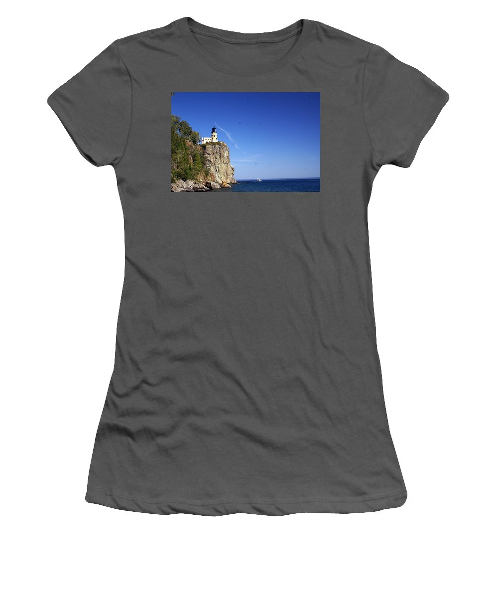 Split Rock Lighthouse Women's T-Shirt (Athletic Fit) featuring the photograph Split Rock 1 by Marty Koch