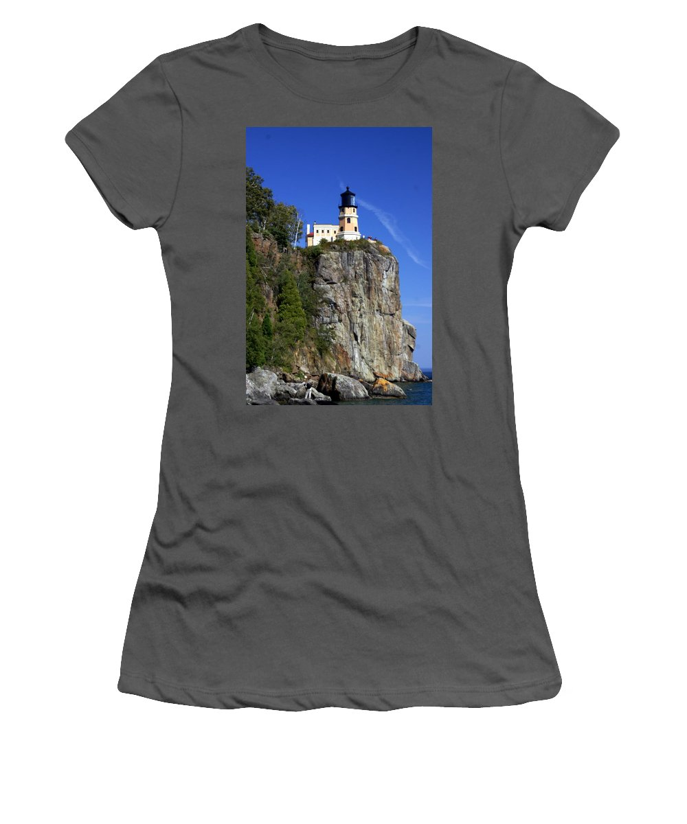 Lighthouse Women's T-Shirt (Athletic Fit) featuring the photograph Split Rock 2 by Marty Koch