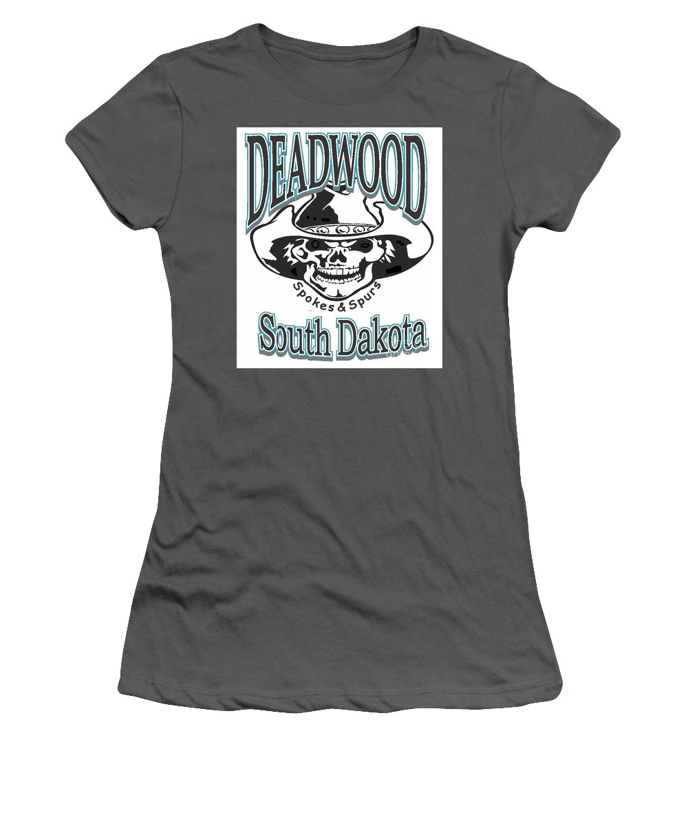 Deadwood Women's T-Shirt (Athletic Fit) featuring the photograph Spokes And Spurs by Robert Morrissey