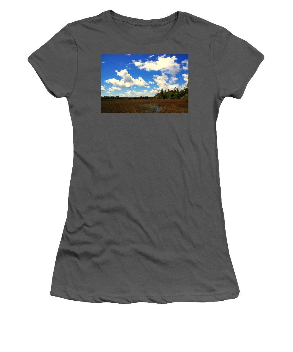 Spring Women's T-Shirt (Athletic Fit) featuring the photograph Spring Clouds Over The Marsh by Susanne Van Hulst