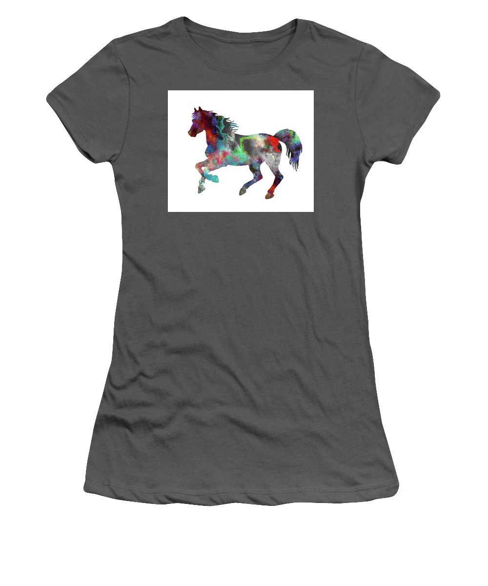 Horse Art Print Women's T-Shirt (Athletic Fit) featuring the painting Spring Horse 2 by Del Art