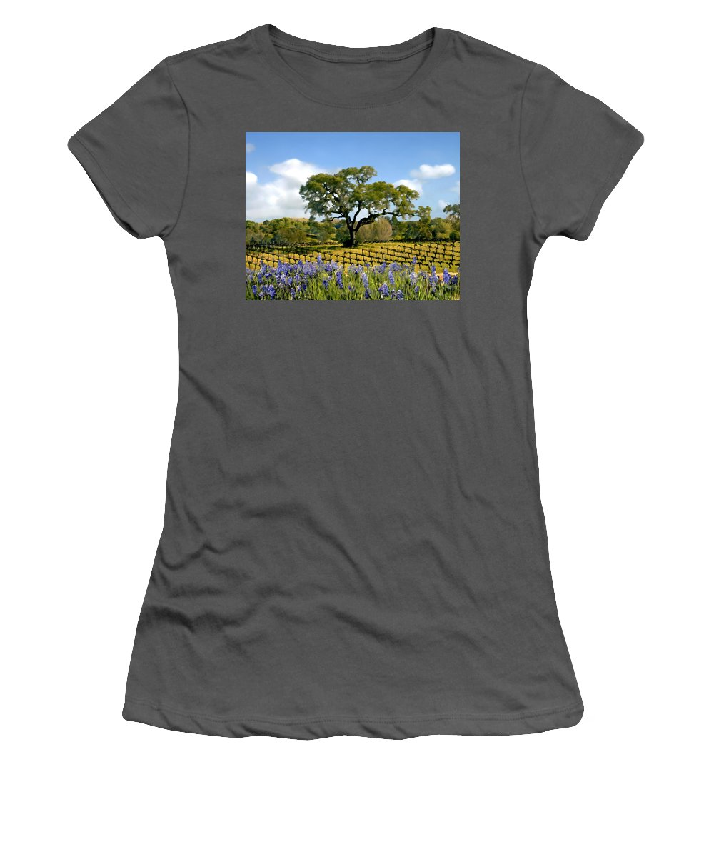 Vineyards Women's T-Shirt (Athletic Fit) featuring the photograph Spring In The Vineyard by Kurt Van Wagner