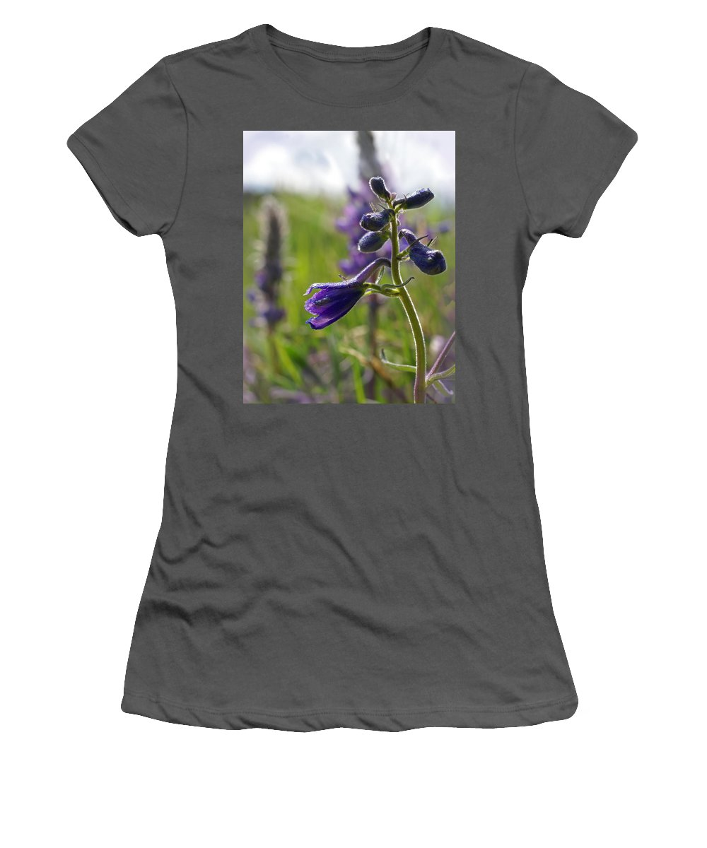 Larkspur Women's T-Shirt (Athletic Fit) featuring the photograph Spring Larkspur by Heather Coen