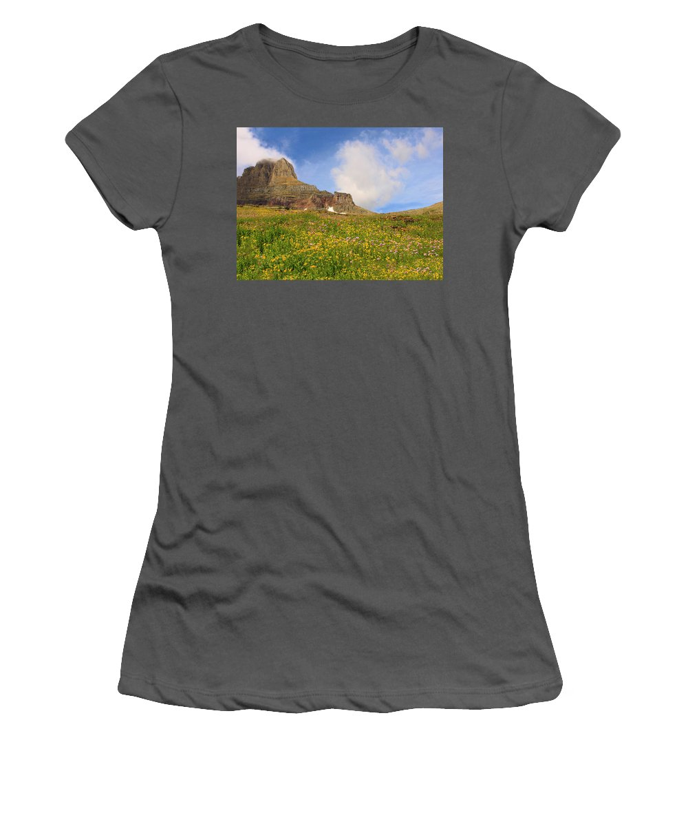 Glacier Women's T-Shirt (Athletic Fit) featuring the photograph Spring Mountain by Shari Jardina