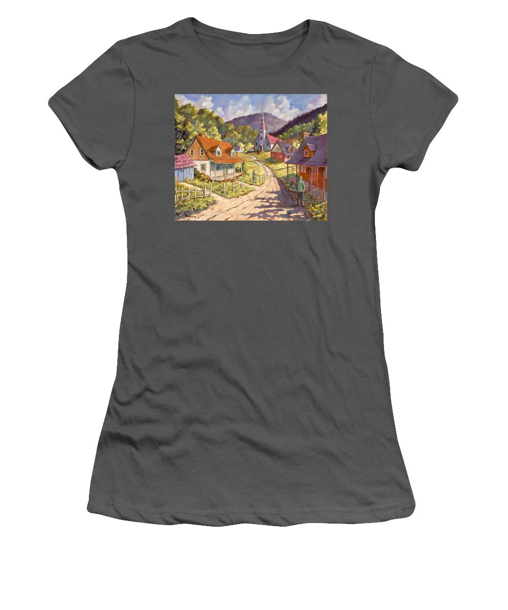 Art Women's T-Shirt (Athletic Fit) featuring the painting Spring Time Sun by Richard T Pranke