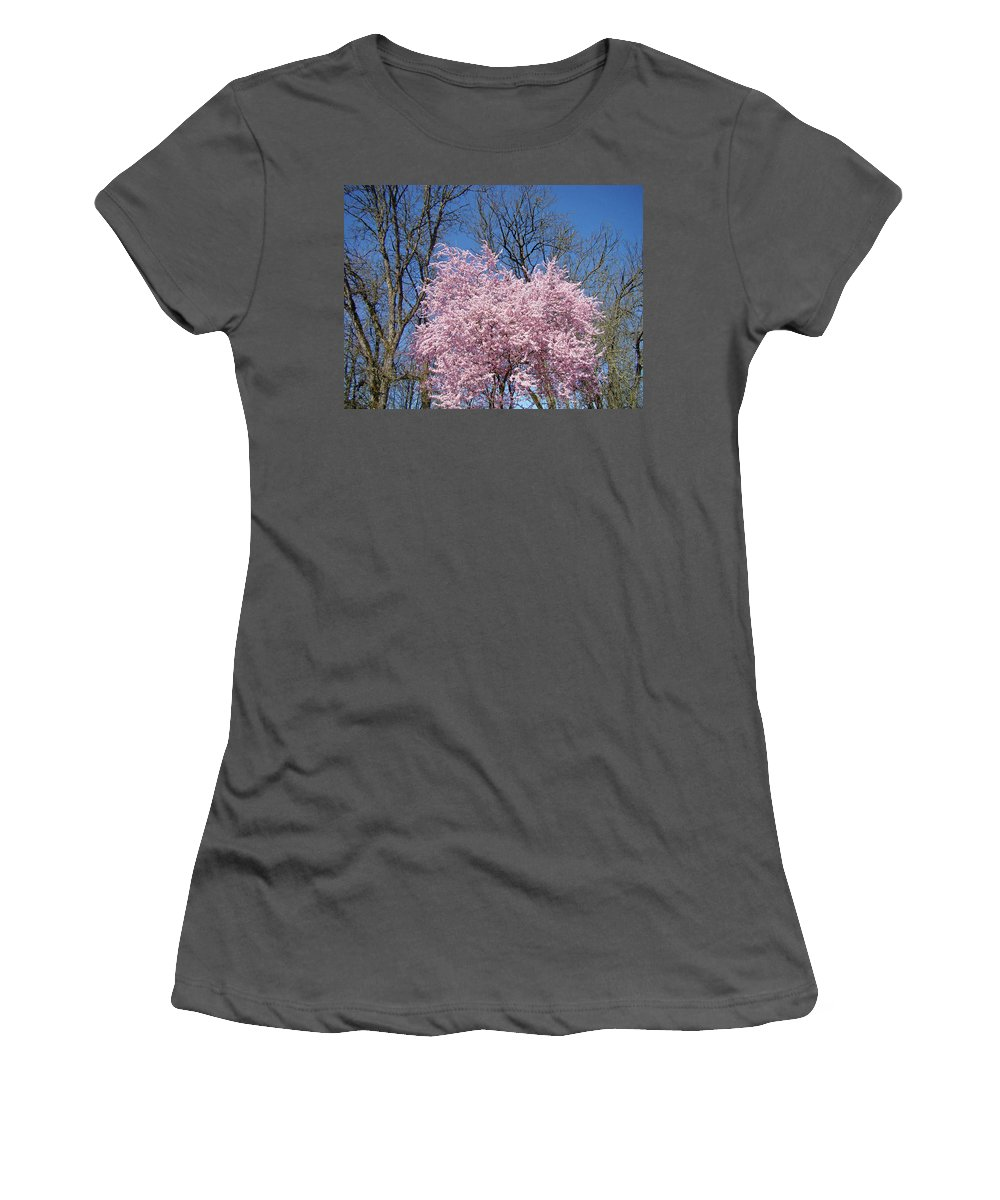 Blossom Women's T-Shirt (Athletic Fit) featuring the photograph Spring Trees Art Print Pink Tree Blossoms Blue Sky Baslee by Baslee Troutman