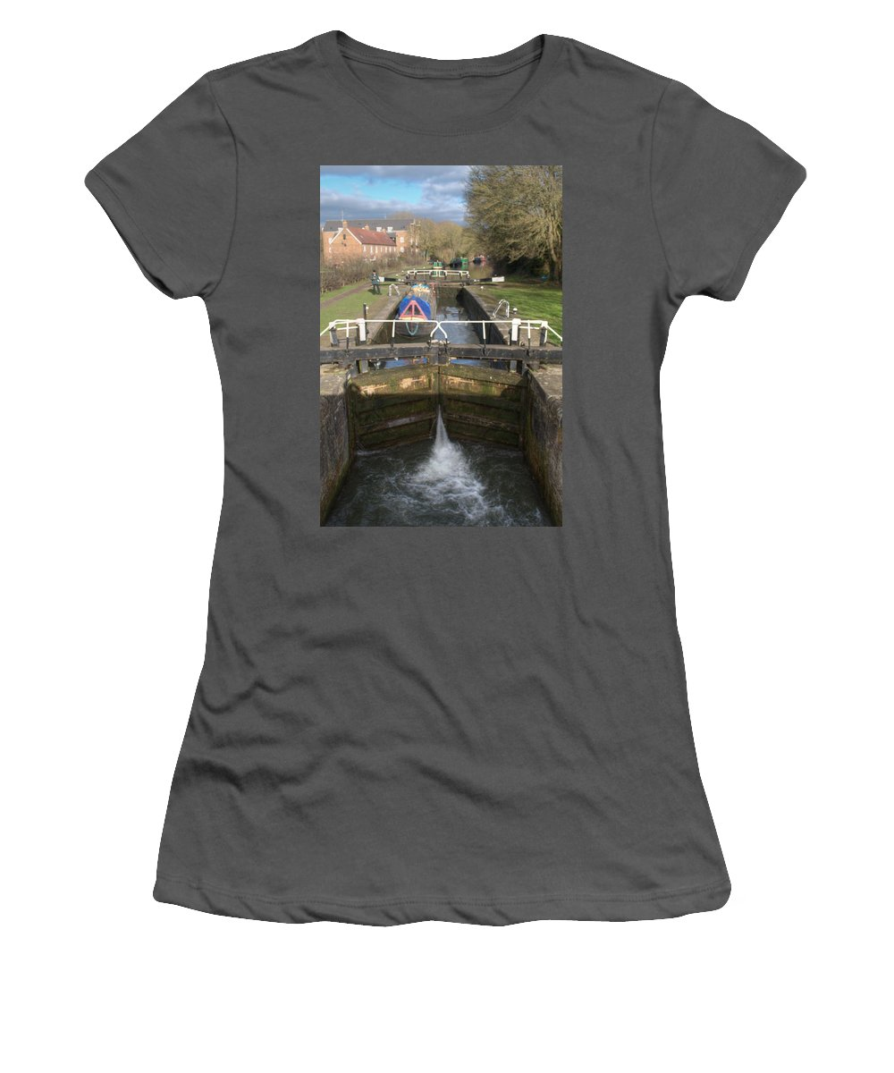 Springwell Women's T-Shirt (Athletic Fit) featuring the photograph Springwell Lock Rickmansworth by Chris Day