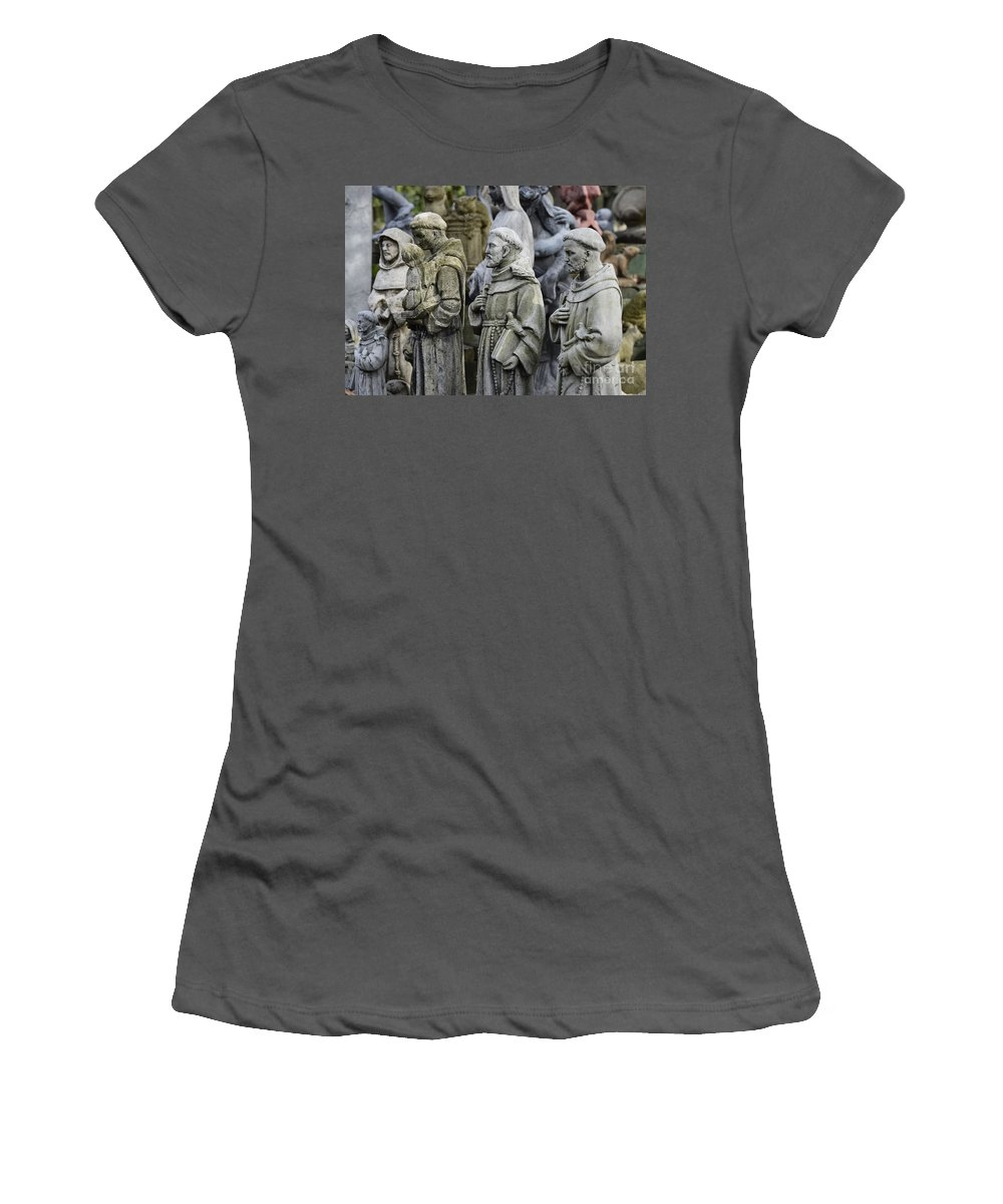 Saint Francis Women's T-Shirt (Athletic Fit) featuring the photograph St Francis Statues by John Greim