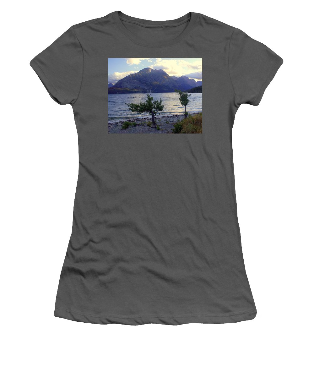St. Mary's Lake Women's T-Shirt (Athletic Fit) featuring the photograph St. Mary Lake by Marty Koch