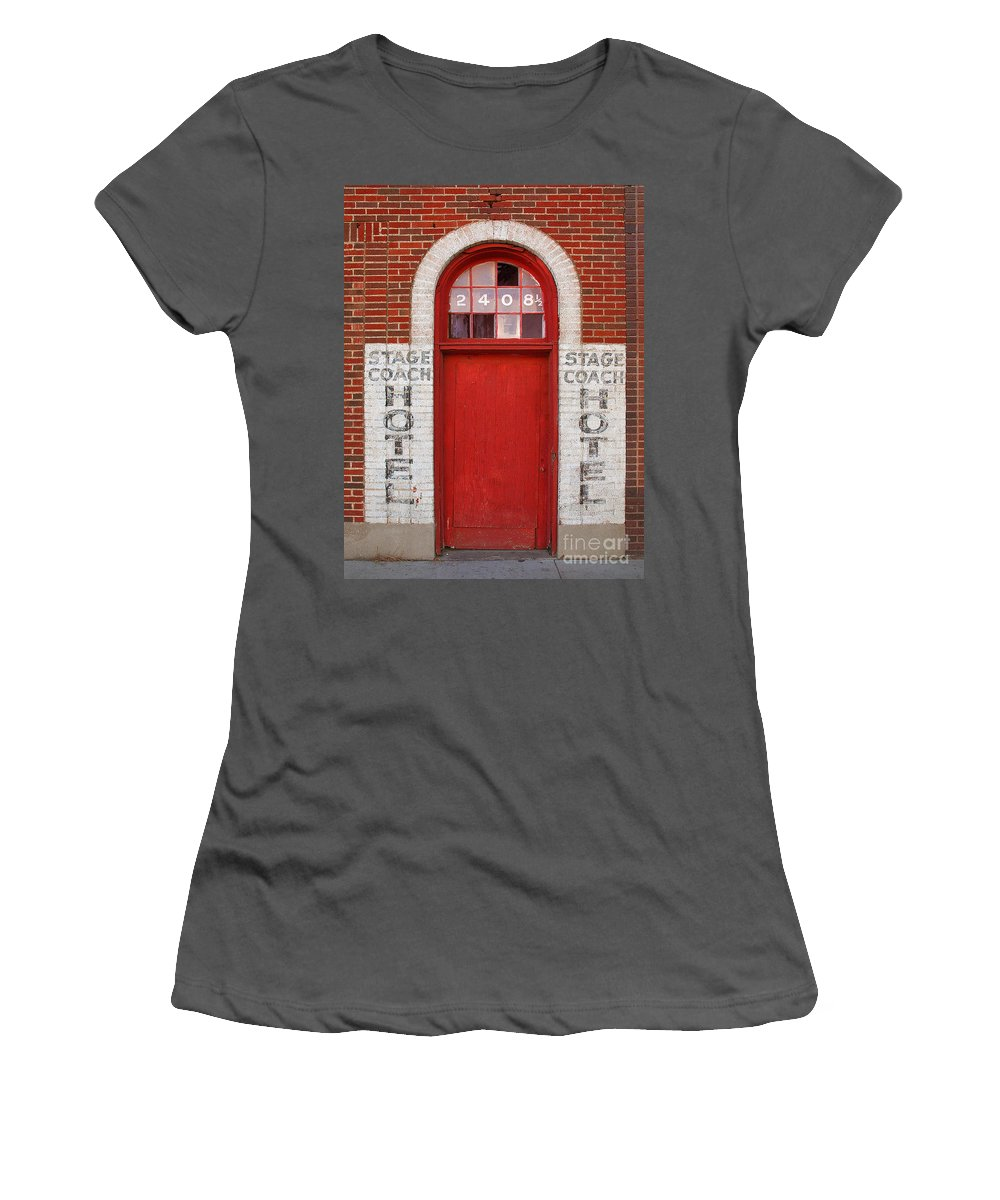Door Women's T-Shirt (Athletic Fit) featuring the photograph Stagecoach Hotel - Rustic Antique Red Door Home Country Southwest by Jon Holiday