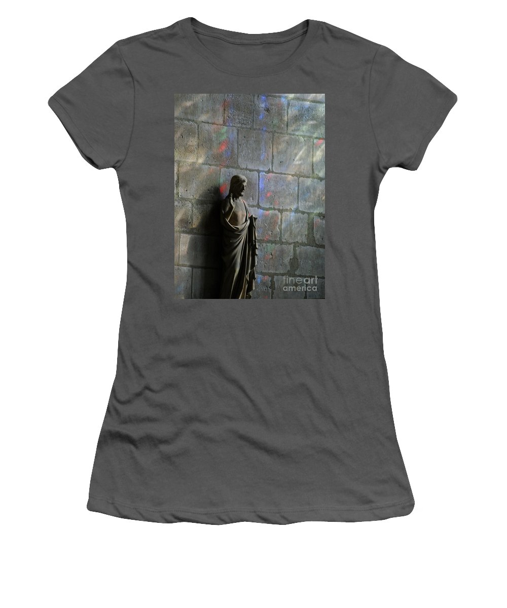 Notre Dame Women's T-Shirt (Athletic Fit) featuring the photograph Stained Glass Illuminates Christ by Christine Jepsen