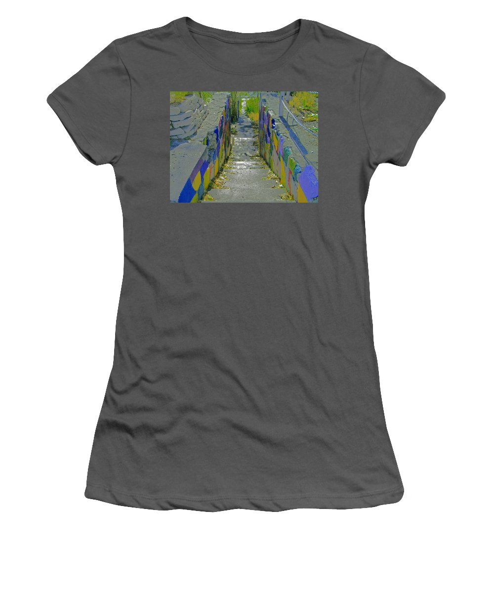 Abstract Women's T-Shirt (Athletic Fit) featuring the photograph Stairs With Painted Rocks by Lenore Senior