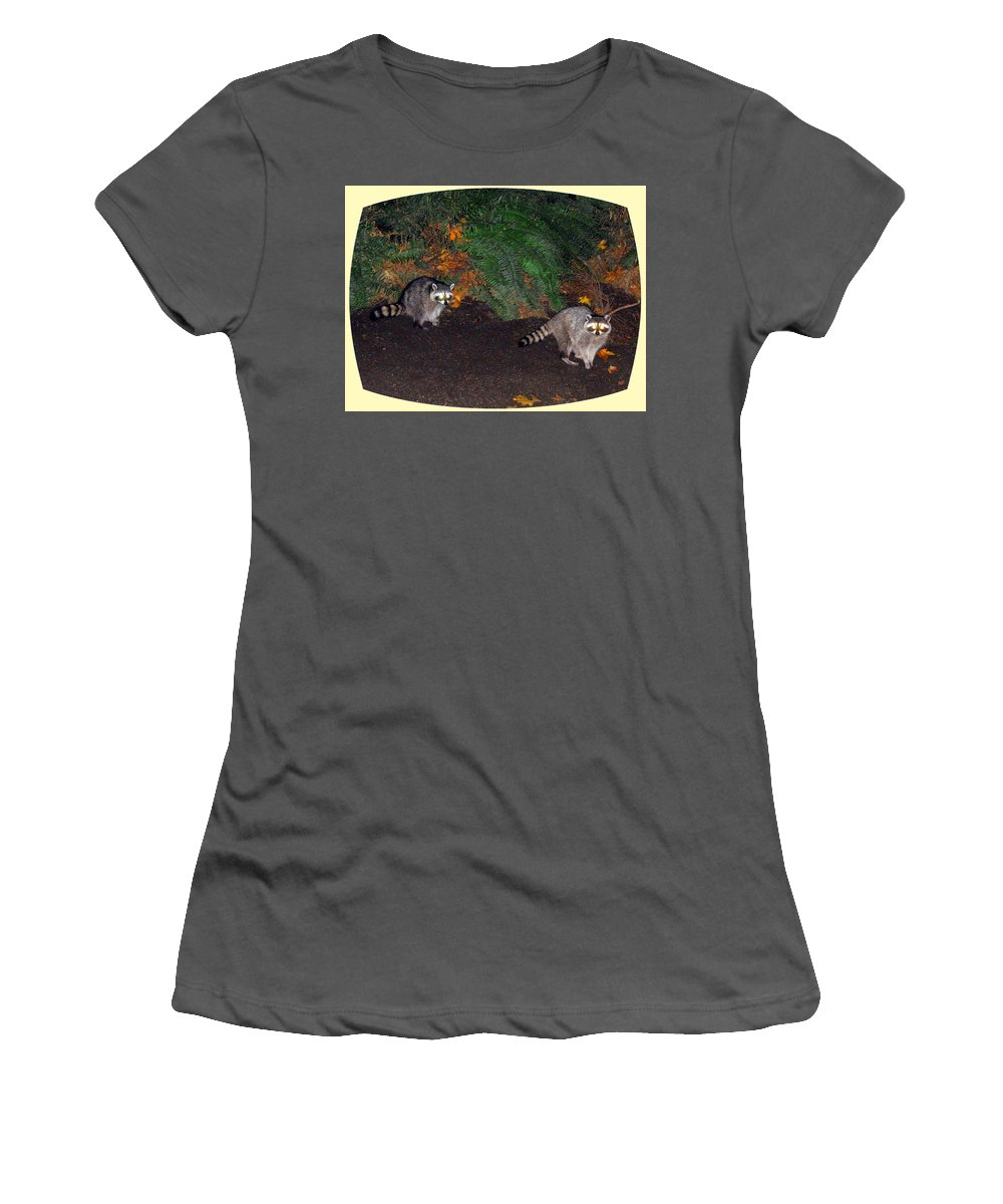 Raccoons Women's T-Shirt (Athletic Fit) featuring the photograph Stanley Park Rascals by Will Borden