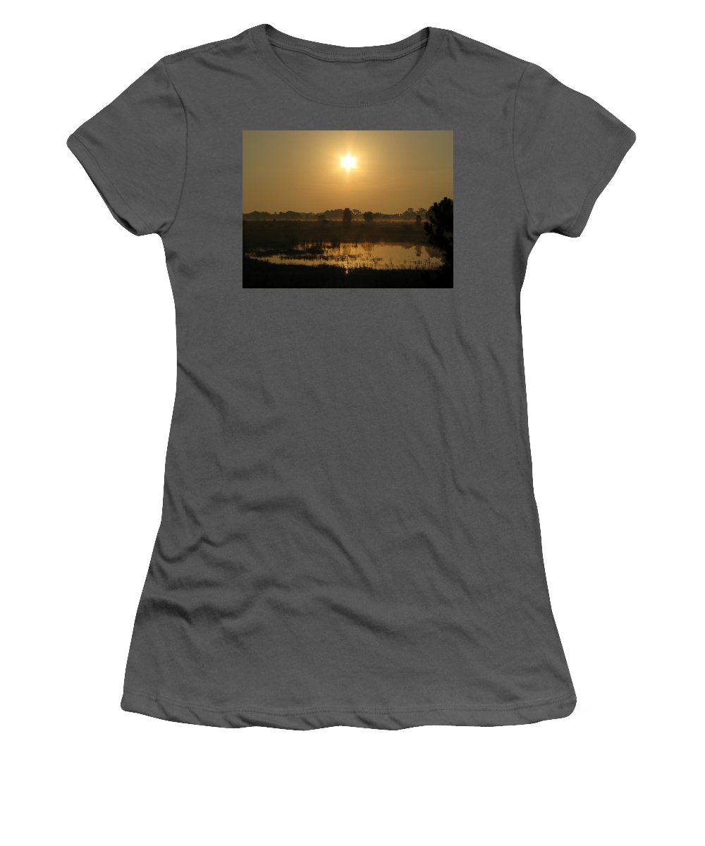 Nature Women's T-Shirt (Athletic Fit) featuring the photograph Starry Sunrise by Peg Urban