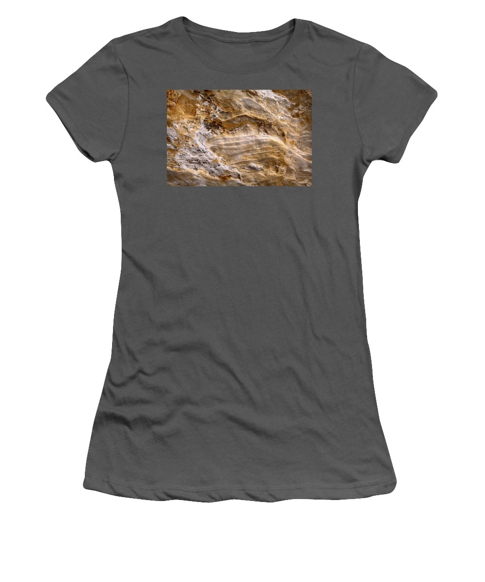 Sandstone Women's T-Shirt (Athletic Fit) featuring the photograph Starvedrocksandstonepatterns by Steve Gadomski