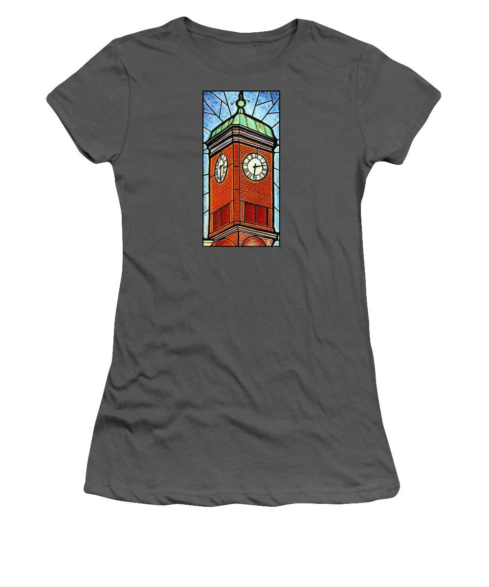 Clocks Women's T-Shirt (Athletic Fit) featuring the painting Staunton Clock Tower Landmark by Jim Harris