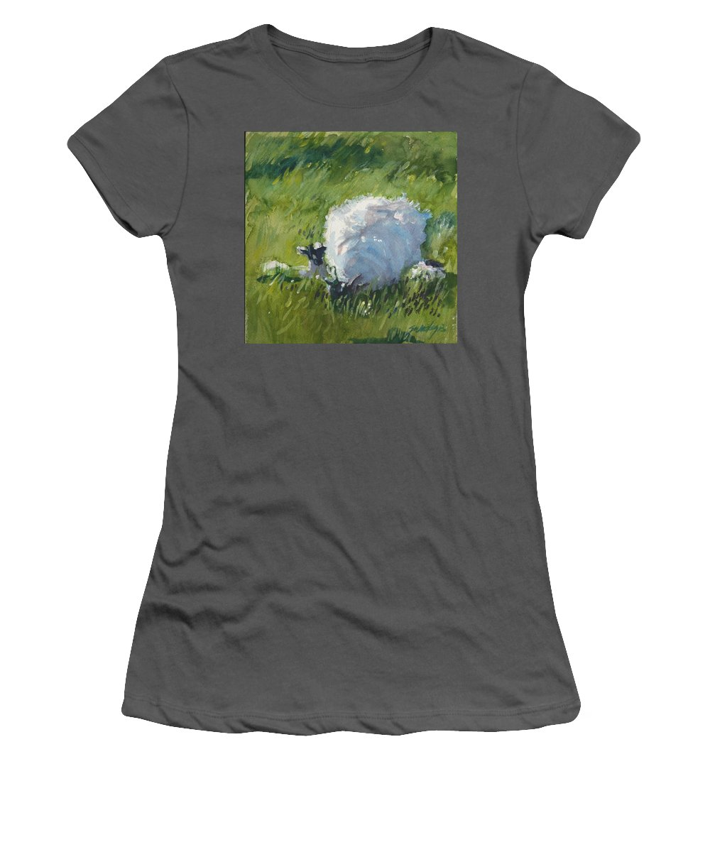 Sheep Women's T-Shirt (Athletic Fit) featuring the painting Stay Close To Mum by Sheila Wedegis