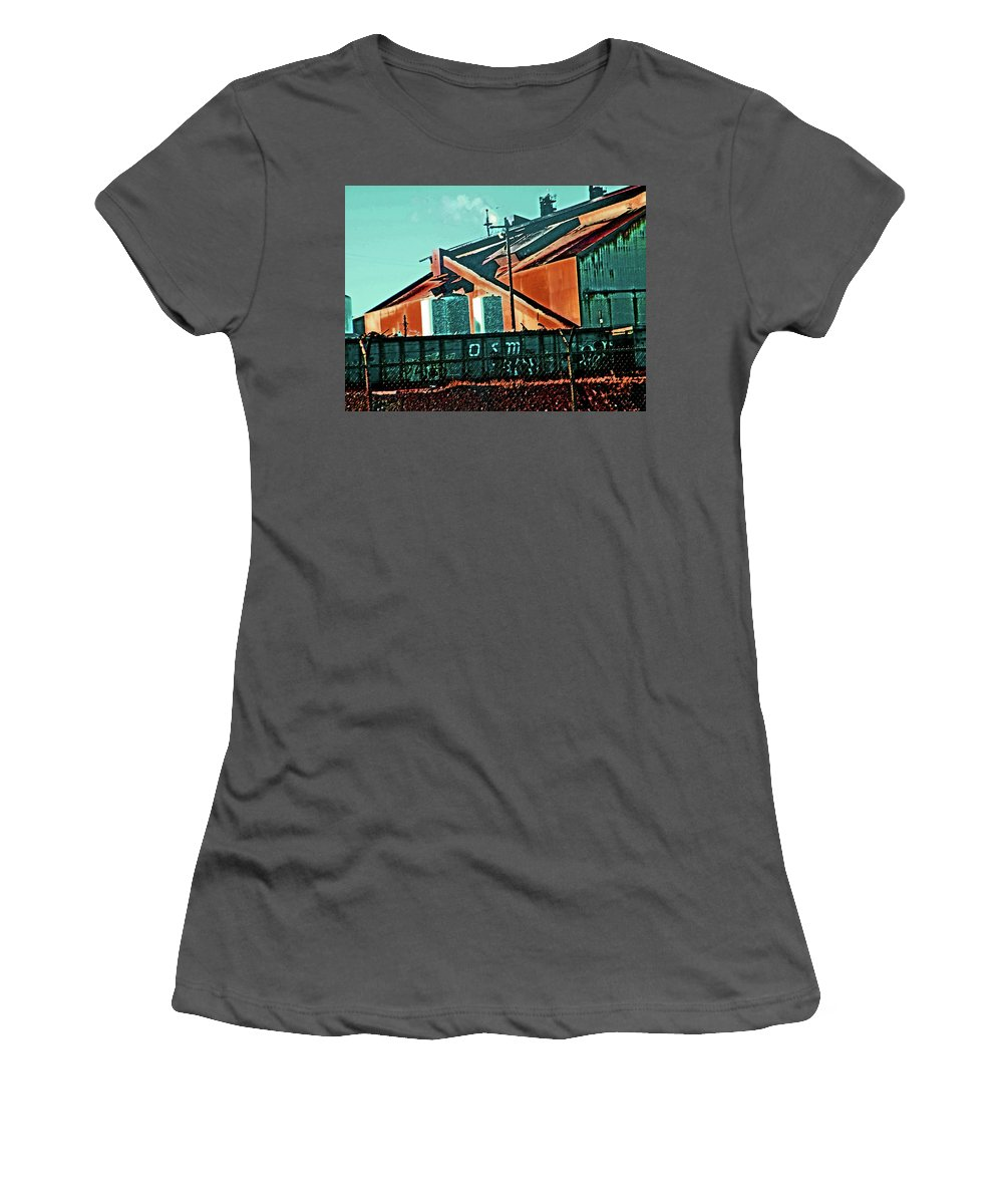 Abstract Women's T-Shirt (Athletic Fit) featuring the digital art Steel City Cfi by Lenore Senior