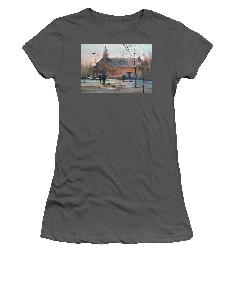 Street Scene Women's T-Shirt (Athletic Fit) featuring the painting Steven's Point Church by Ryan Radke